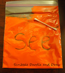 Paint filled printing bags to practice sight words and spelling