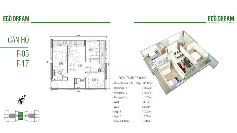 Thiết kế căn hộ 3PN, 95m2 chung cư Eco Dream