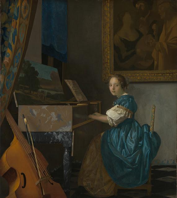 Jan Vermeer van Delft - Dama sentada al virginal - c. 1675