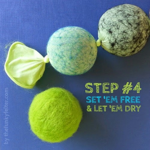 step 4 let the felted balls air dry or use the dryer then cut them out of the hose