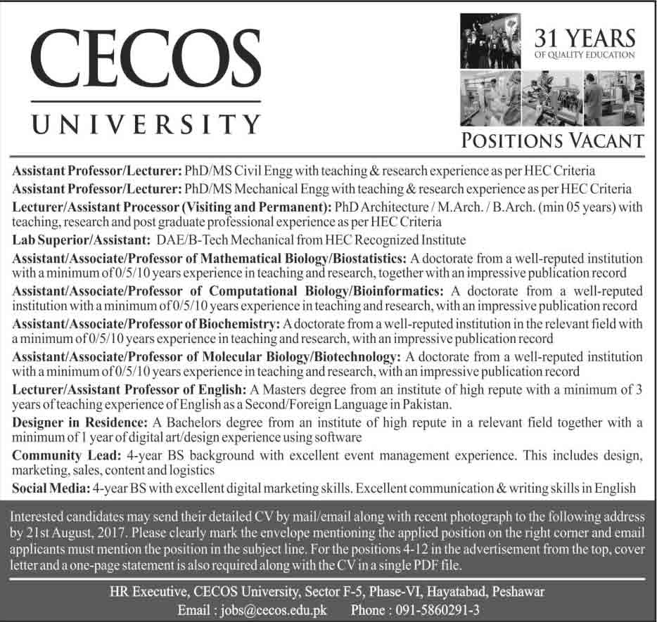 Jobs In CECOS University peshawar  Aug 2017