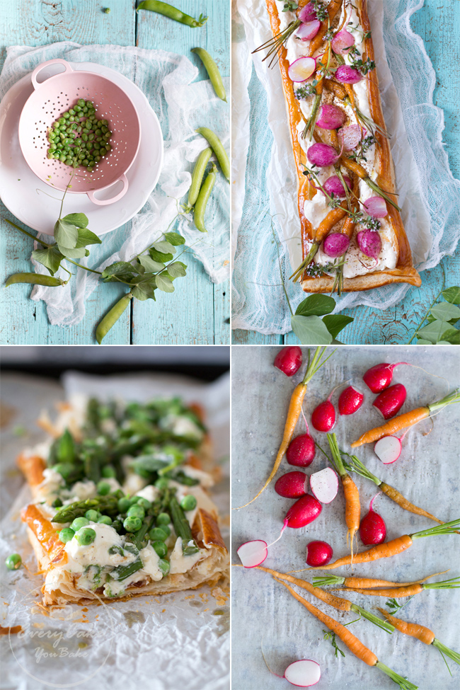tarty z wiosennymi warzywami na cieście francuskim