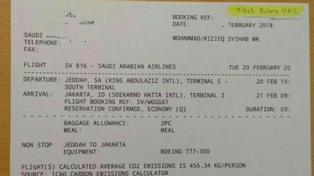 Foto Tiket Pesawat Kepulangan Rizieq Shihab Beredar, Ini Kata Novel Bamukmin
