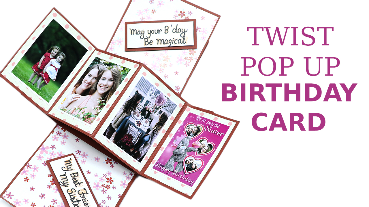 twisting hearts pop up card template - handmade birthday card diy twist and pop up card artsy