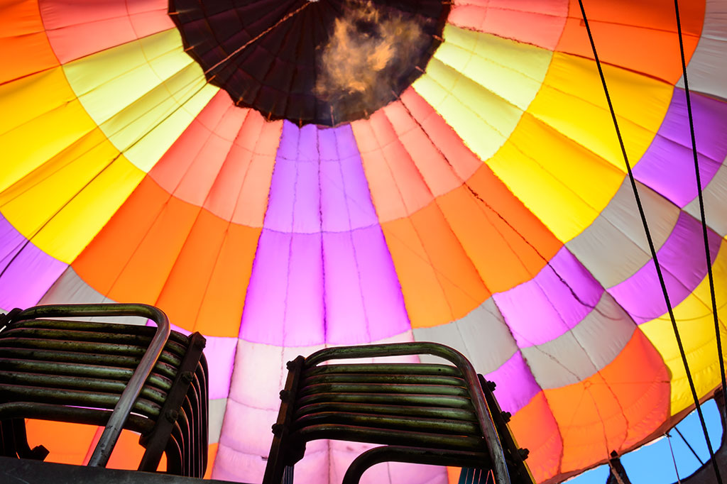 View of the inside of a Hot Air Balloon