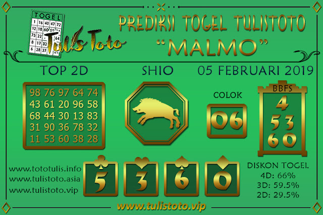 Prediksi Togel MALMO TULISTOTO 05 FEBRUARI 2019