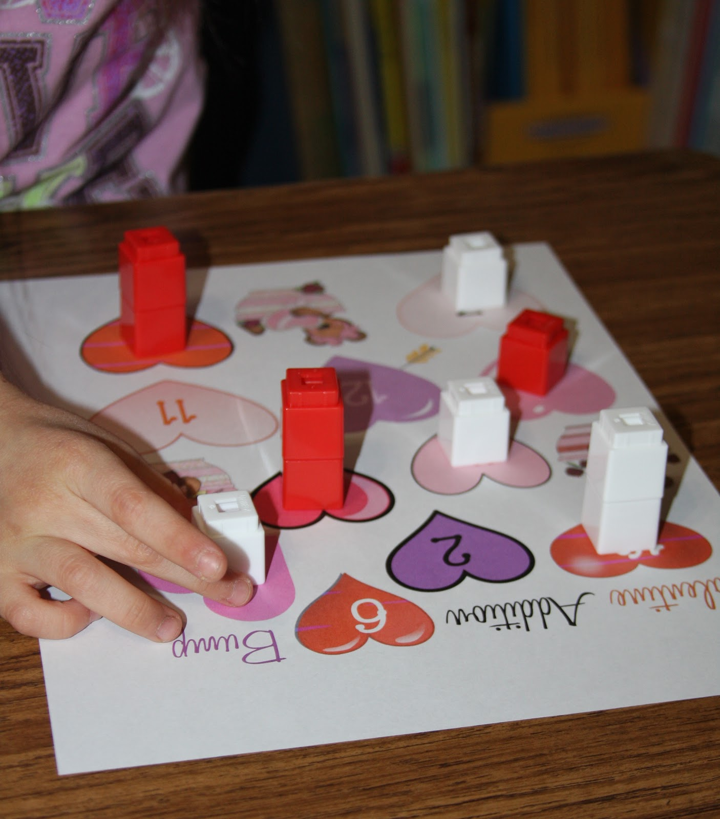 A Learning Journey Unifix Cube Valentine Addition Bump Game
