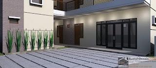 Close Up Desain Rumah kost minimalis modern 2 lantai
