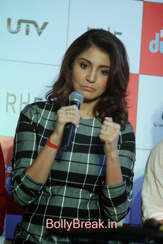 Hindi Actress Anushka Sharma, Anushka Sharma Hot Pics In check dress from PK Mobile Game Launch