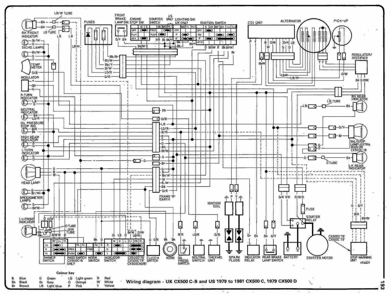 honda cx500 c motorcycle 1979-1981 and cx500 d 1979 ... 79 honda wiring diagrams 79 yamaha yz 250 wiring diagrams