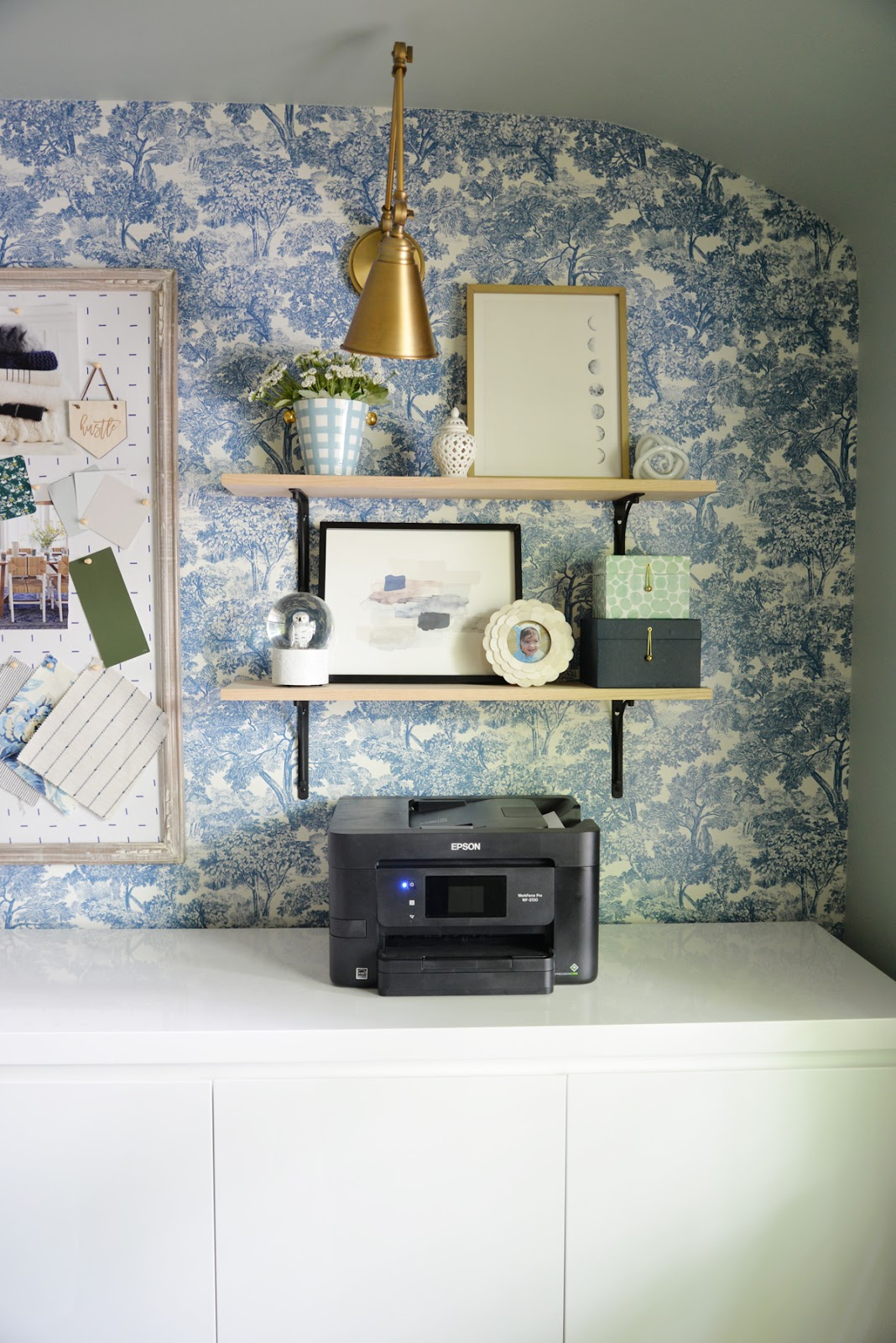 feminine home office, modern traditional office, Rambling Renovators, wallpaper and brass sconces, Brewster blue toile wallpaper