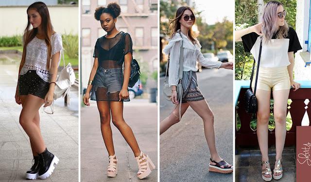 Quatro looks montados com sapatos de salto tratorado e shorts