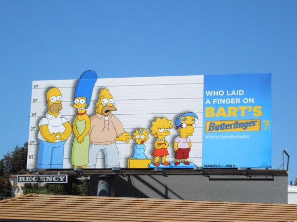 Who laid a finger on Bart's Butterfinger The Simpsons billboard