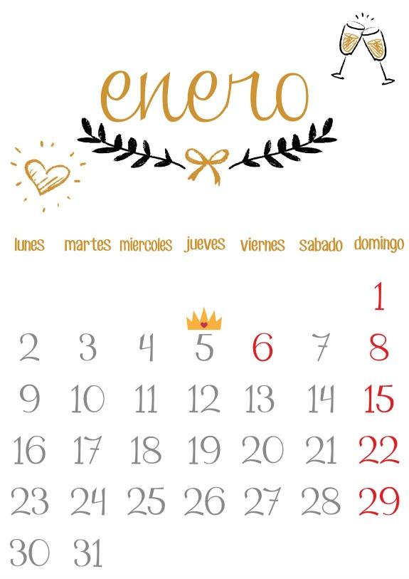 Imprimible calendario enero 2017 ni a bonita - Mes de enero 2017 ...