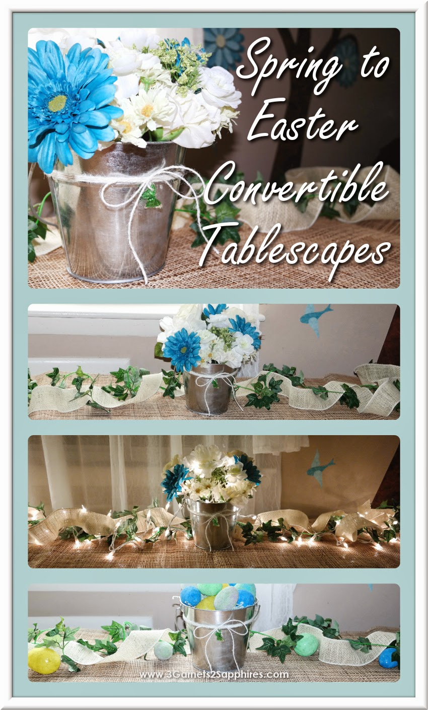 Easy Convertible Springtime to Easter-Themed Tablescape #SpringCrafts #EasterCrafts