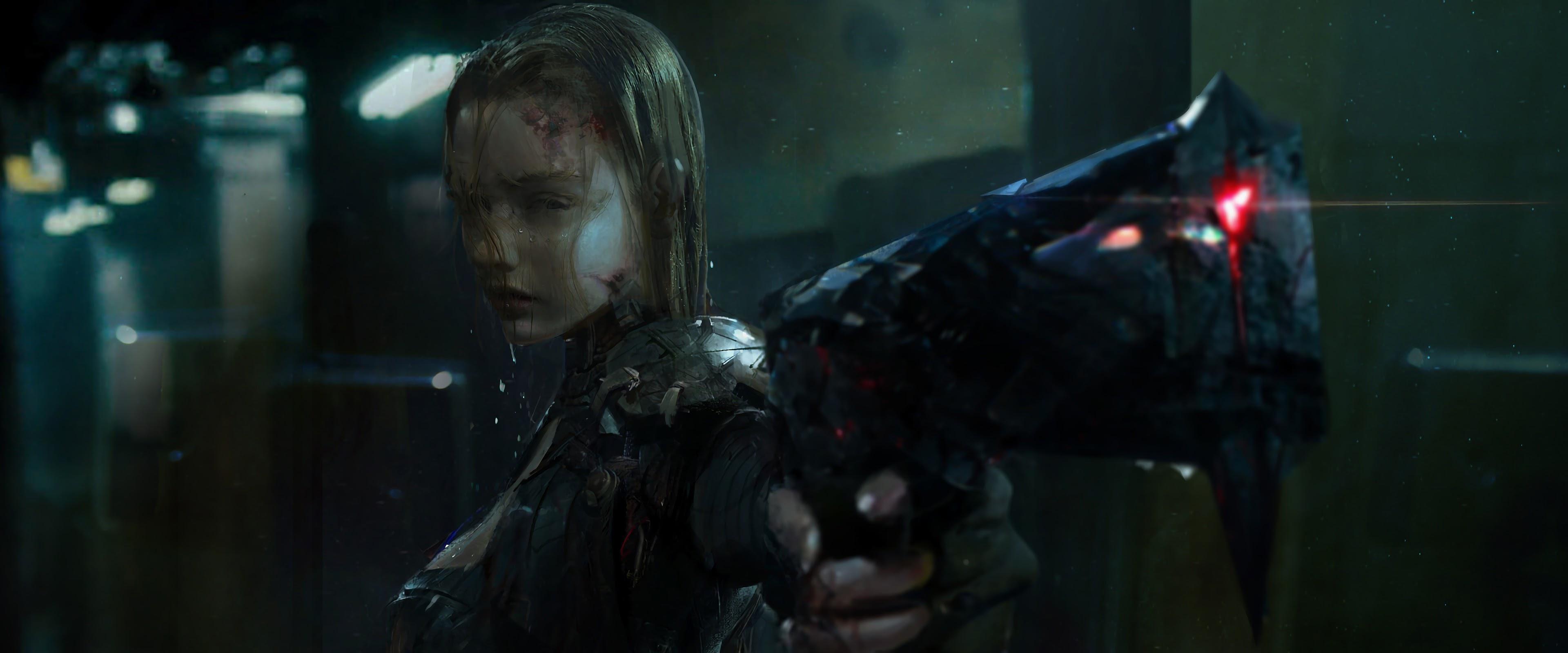 Cyberpunk Girl Pistol Sci Fi 4k Wallpaper 100