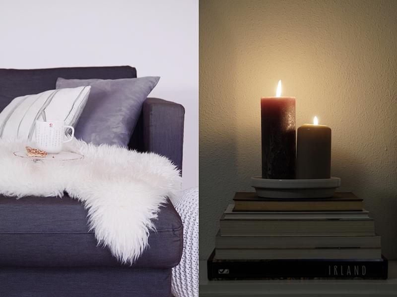 Herbstdeko Ideen, Tipps: Wohntextilien, Kerzen, Felle und mehr in schwarz/ weiß/ grau