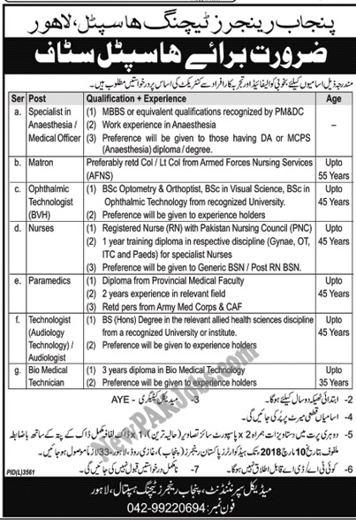 Punjab Rangers Teaching Hospital Today Jobs announced March 2018