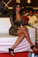 Pooja Hegde looks glamarous in deep neck sleevless short tight golden gown at Duvvada Jagannadham thank you meet function 022.JPG