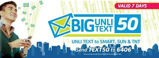 Smart offer 7 days BIG UNLI TEXT50 Promo with Unlimited Text to 3 Networks