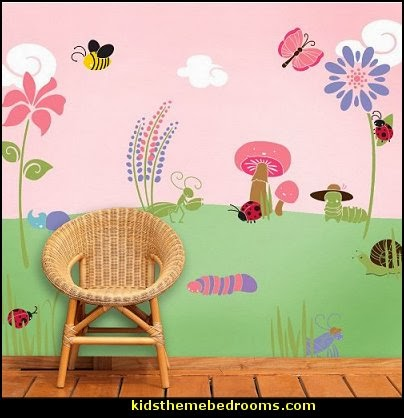 Decorating theme bedrooms maries manor baby girl garden for Baby wall mural ideas