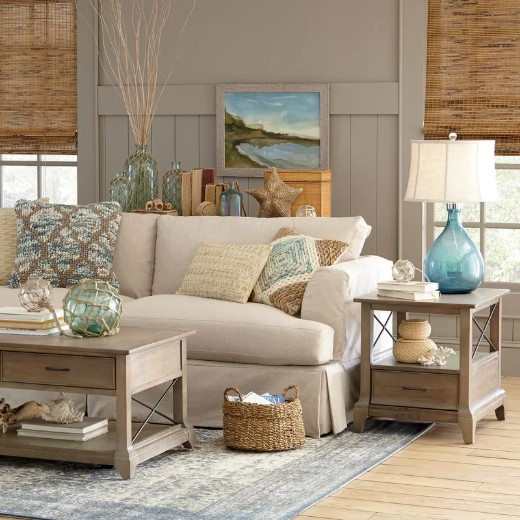 Neutral Coastal Living Room Idea with Blue Decor Accents