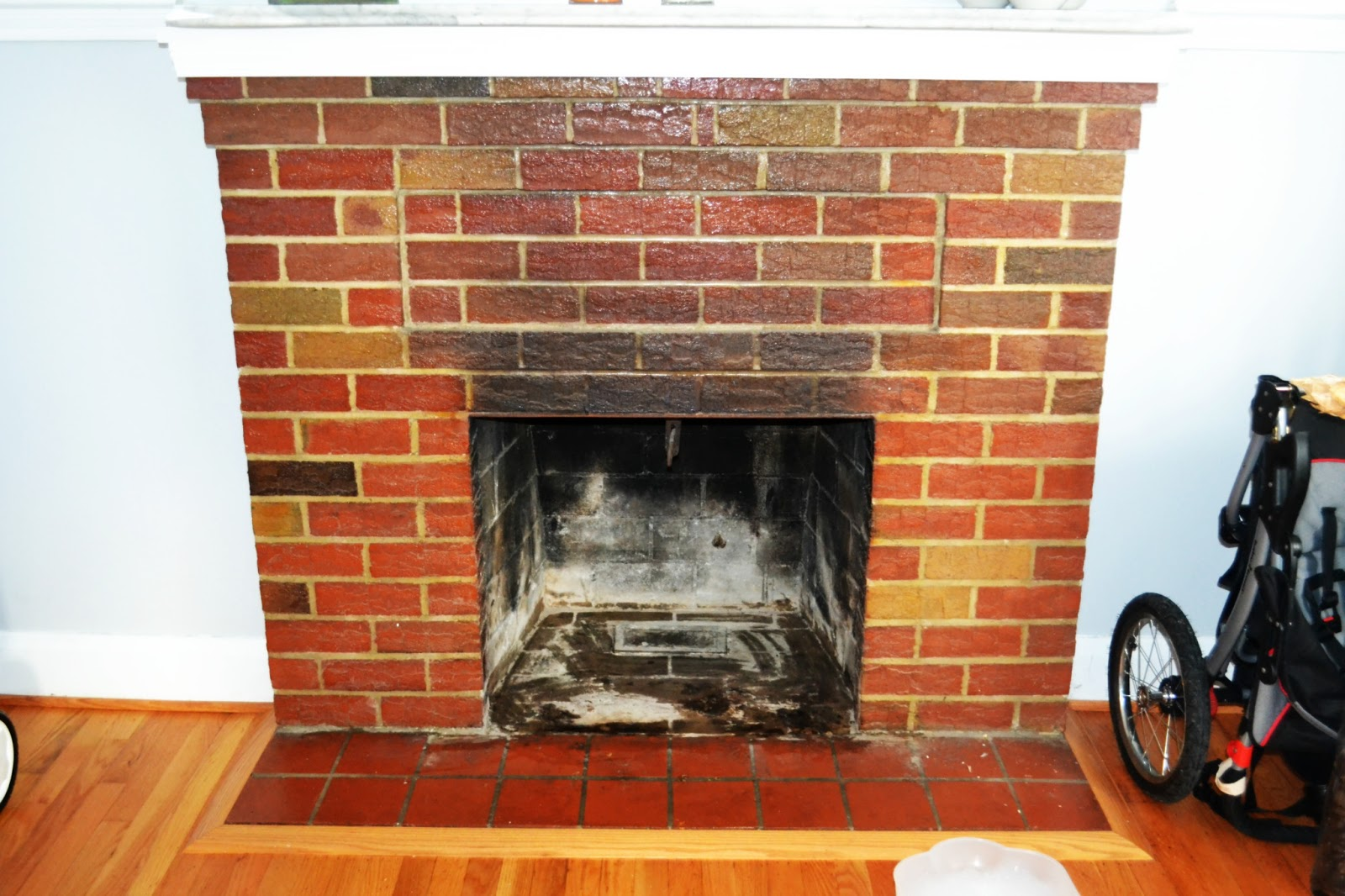 Project Stay-at-Home Mommy: Bye Bye Ugly Red Brick Fireplace