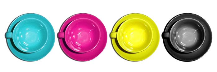 variação de cores de um logotipo CMYK