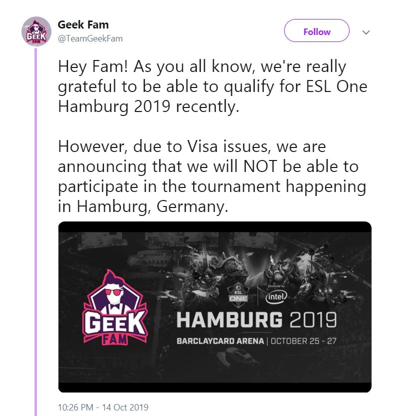 geekfam deny visa - Geek Fam thất bại ở thử thách cuối cùng, bỏ lỡ tấm vé tham dự ESL One Hamburg