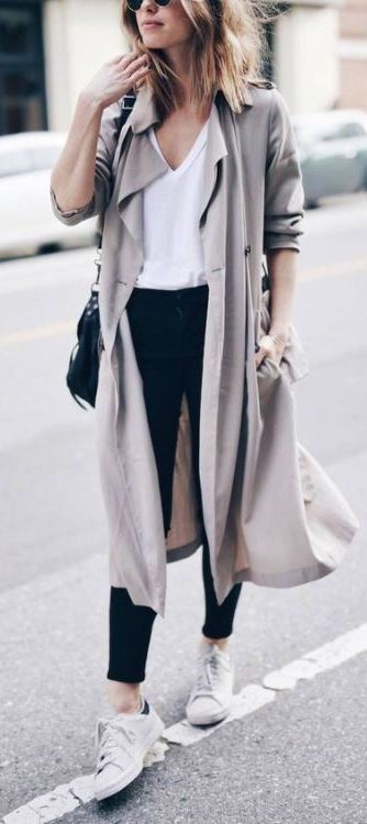 cute outfit idea / nude coat + white top + bag + black skinnies + sneakers