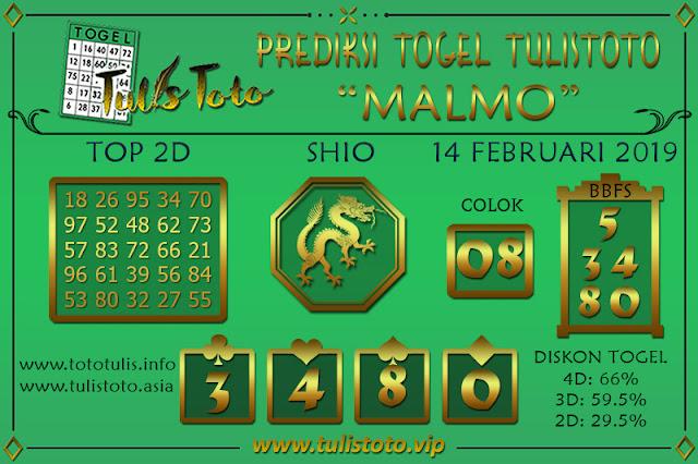 Prediksi Togel MALMO TULISTOTO 14 FEBRUARI 2019