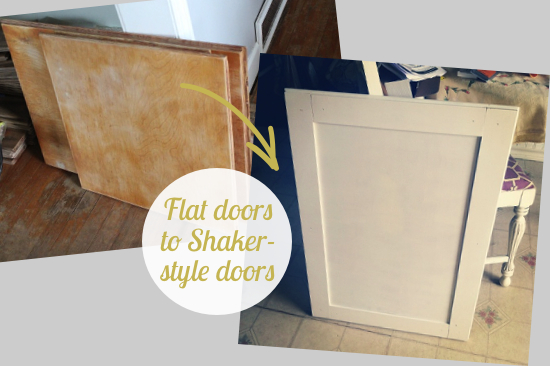 Beautifully Contained Kitchen Update How To Convert Flat Doors Into Shaker Style Doors