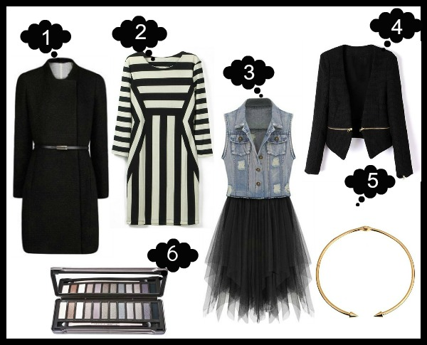 1. Coat  2. Striped Dress  3. Denim & Chiffon Dress 4. Zippered Blazer 5. Arrow Necklace 6. Eyeshadow Palette - ROMWE Latest Street Fashion