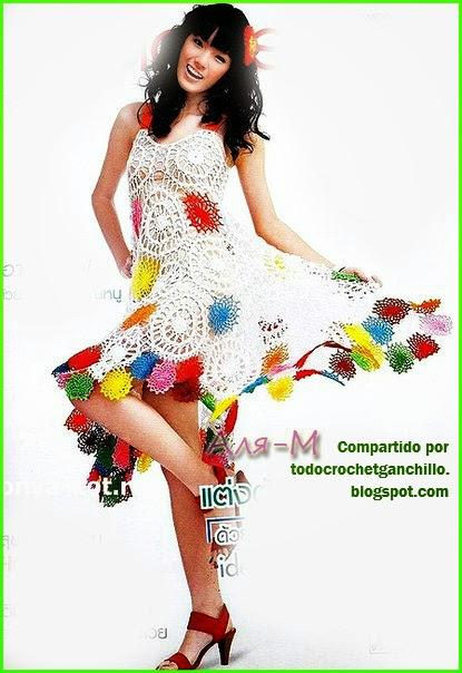 Vestido crochet con circulos