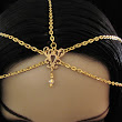 Multi Strand Gold Head Chain Head Piece Crystal dangle