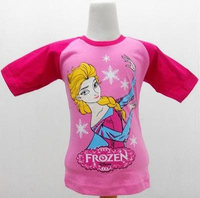 Kaos Raglan Anak Karakter Frozen Elsa 4 Pink