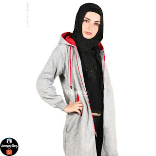 HJ22 Hijacket BASIC Grey x Red JAKET HIJAB JAKET MUSLIMAH ORIGINAL PREMIUM FLEECE