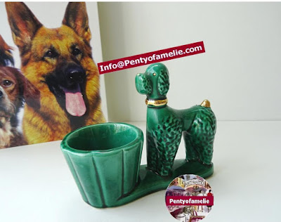 Hard to find lovely Vintage Majolica Emerald Green Curled Bichon Poodle Glazed Faience and golden accents figurine with Planter.
