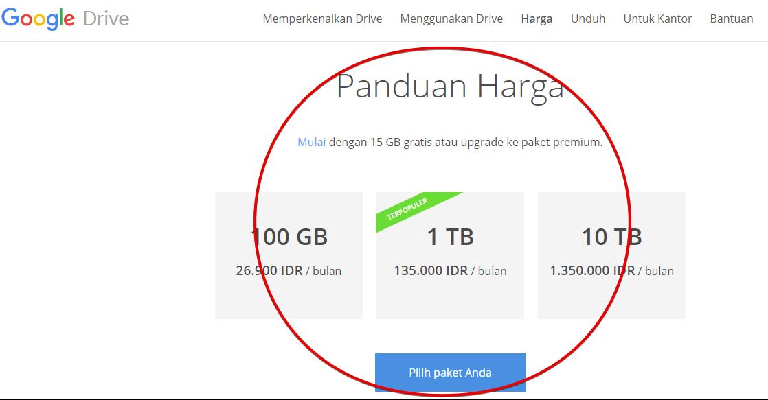 Rincian Harga google drive