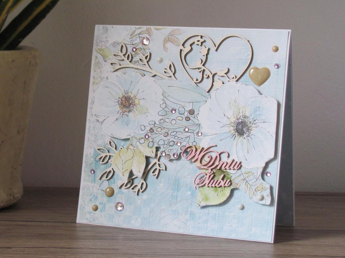 17. Pastelowa kartka ślubna