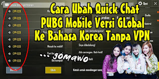 Cara Mengubah Voice Chat PUBG Mobile Versi Global Ke Bahasa Korea Tanpa VPN