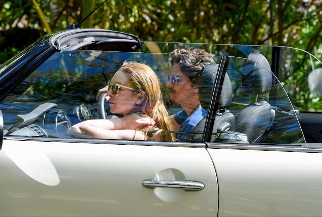 Lindsay Lohan and Egor Tarabasov Drive Around Mauritius Island