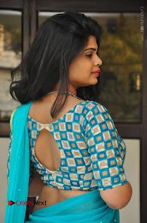 Telugu Actress Alekhya Stills in Green Saree at Swachh Hyderabad Cricket Press Meet  0014.JPG