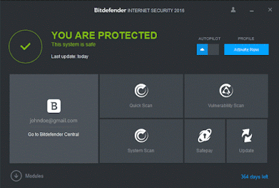 Latest Bitdefender Internet Security Dashboard