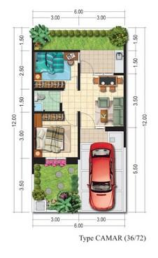 10 Contoh Gambar Denah Rumah Type 36 72 Quanta 2 The Trully Of Regency