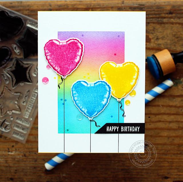 Sunny Studio Stamps: Bold Balloons Rainbow Balloon Birthday Card by Vanessa Menhorn