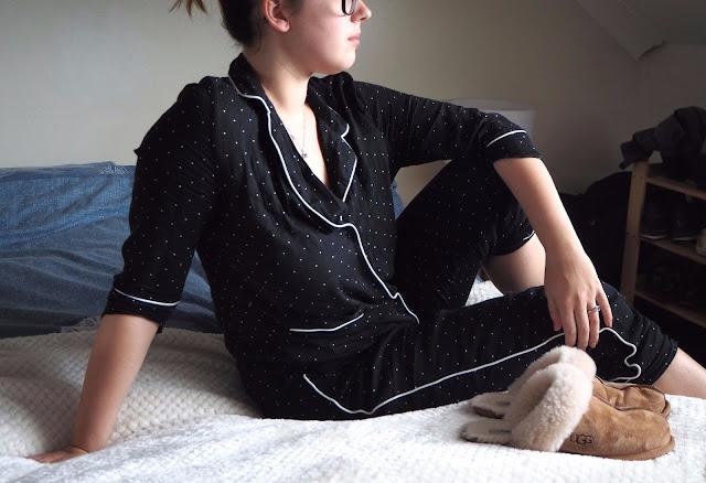 Lying on bed with pyjama set
