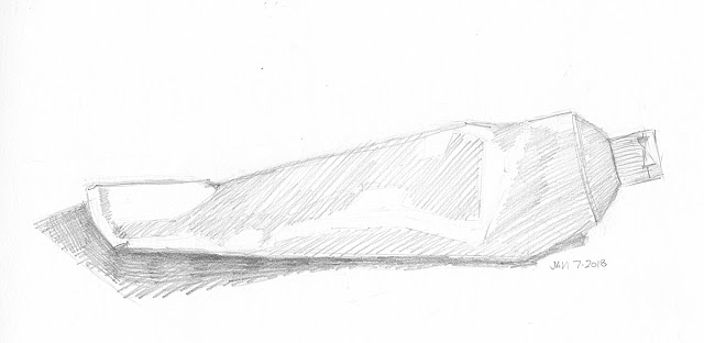 Daily Art 01-07-18 still life sketch in graphite number 96 - toothpaste tube