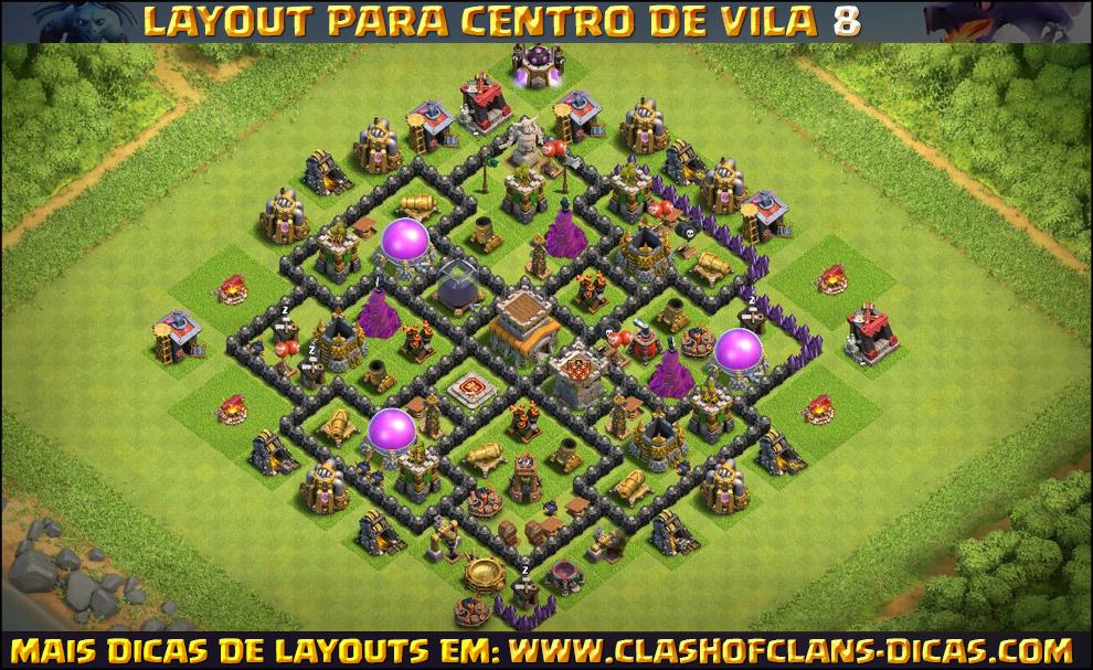 Layouts de Centro de vila 8 para Clash of Clans - Clash of