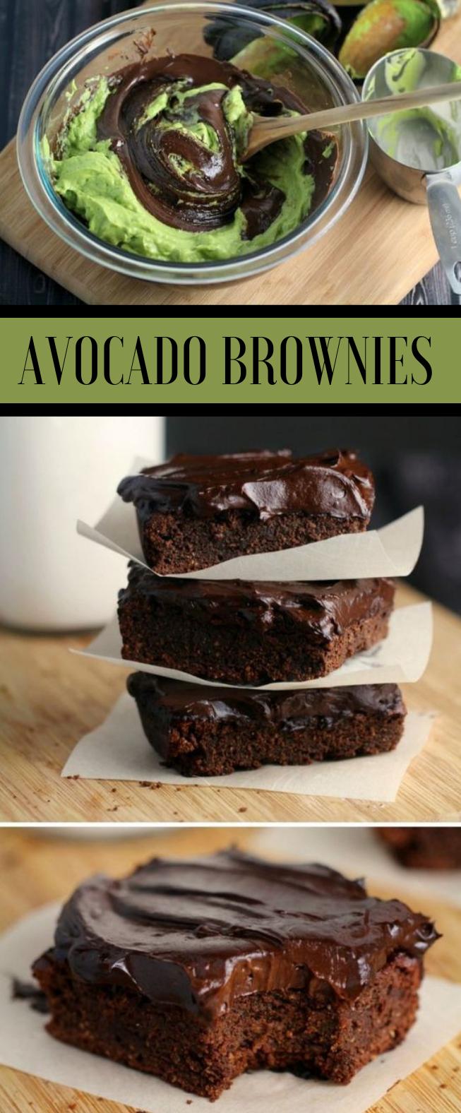 FUDGY AVOCADO BROWNIES WITH AVOCADO FROSTING #avocado #dessert